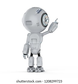 3d rendering mini robot finger point on white background