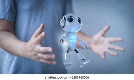 3d rendering mini robot in human hand