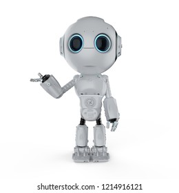 3d rendering mini robot open hand on white background