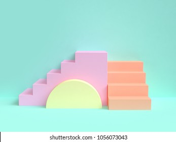 3d rendering minimal green scene abstract colorful geometric shape staircase