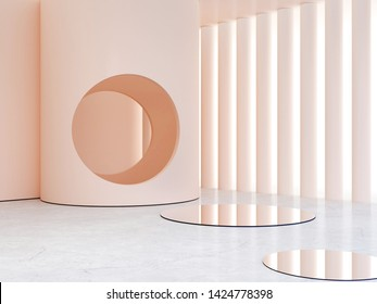 3d rendering. Minimal interior scene to show beauty summer products. Scene with minimalistic shapes, arches and circle in the background, minimalistic geometrical forms mirrors. Pastel colors.