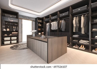3d rendering minimal loft dark wood walk in closet with wardrobe
