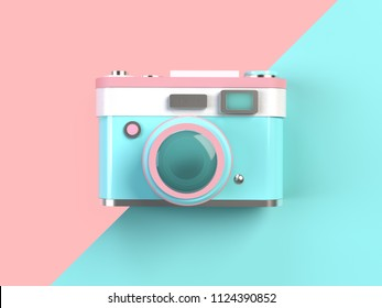 3d Rendering minimal pastel camera on pink and turquoise background