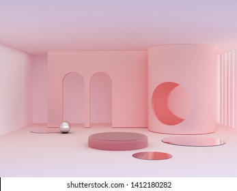 3d rendering. Minimal scene to show beauty summer products. Scene with minimalistic shapes, arches and circle in the background, minimal geometrical forms mirrors. Pink pastel colors. Textured podium.