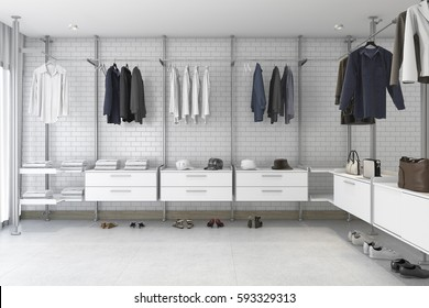 3d rendering minimal white brick walk in closet