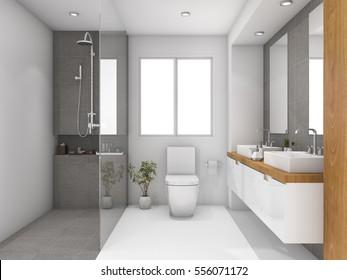 3d rendering minimal wood and stone white bathroom