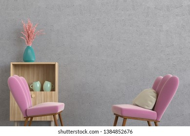 3D rendering of a minimalistic lounge room with an empty concrete wall, two modern and comfortable chairs with a pillow and a cupboard