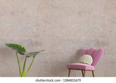 3D rendering of a minimalistic lounge room with an empty concrete wall, a house plant and a modern and comfortable chair with pillow