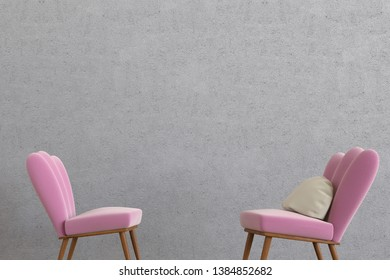 3D rendering of a minimalistic lounge room with an empty concrete wall and two modern and comfortable chairs with a pillow