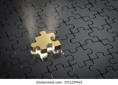 3d rendering missing piece of jigsaw