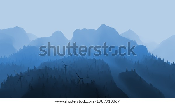 3d rendering of a misty mountains with wind generators