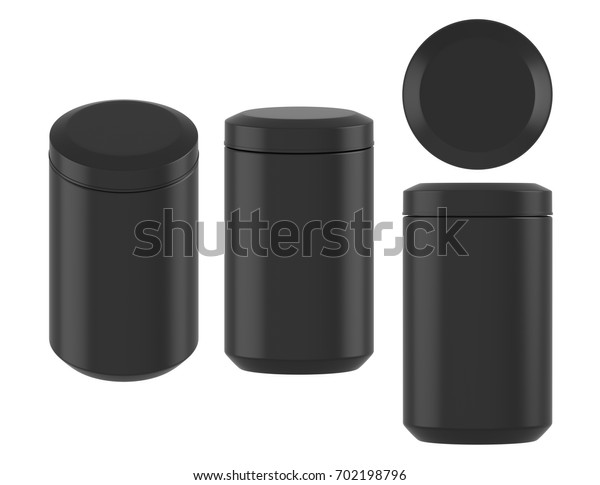 3D rendering Mock up black plastic jar with screw cap, Packaging template on white background