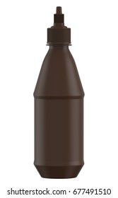 3D rendering Mock up brown plastic bottle for tomato ketchup, mustard ,mayonnaise, bbq sauce, gravy, spices ,condiments and chocolate