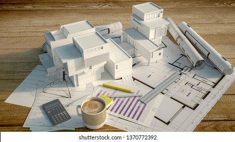 3D rendering of a mock up condo building on top of a wooden surface with mortgage application form, calculator, blueprints, etc..