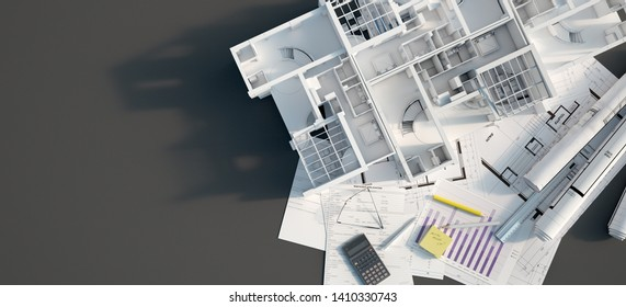 3D rendering of a mock up condo building on top of a black surface with mortgage application form, calculator, blueprints, etc..