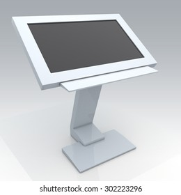 3D Rendering Mock Up Interactive digital Information Kiosk in Isolated Background with Work Paths, Clipping Paths Included.