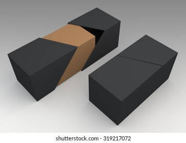 3D Rendering Mock Up Matte Black and Brown New Boxes and Cover Packaging Design in Isolated Background with Work Paths, Clipping Paths Included.
