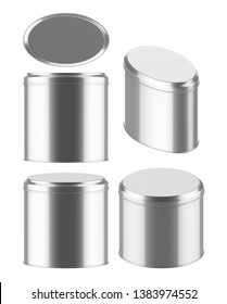 3D rendering Mock up oval metal tin can . Container for tea, coffee, sugar, cereals, candy, spice, snack or Cosmetic cream, gel, wax