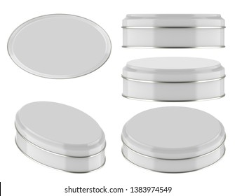 3D rendering Mock up oval white tin can . Container for tea, coffee, sugar, cereals, candy, spice, snack or Cosmetic cream, gel, wax