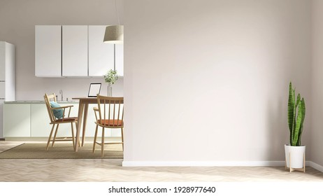3d rendering mock up picture of a beautiful studio apartment which has living room, kitchen and dining table in the same area with blank wall. Home products background, Backdrop, Indoors, Interior.