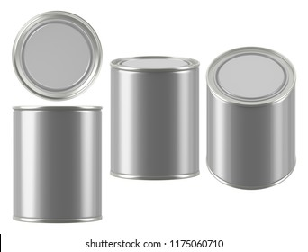 3D rendering Mock up round metal tin can . Container for tea, coffee, sugar, cereals, candy, spice, snack or Cosmetic cream, gel, wax