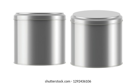 3D rendering Mock up round metal tin can with lid. Container for tea, coffee, sugar, cereals, candy, spice, snack or Cosmetic cream, gel, wax