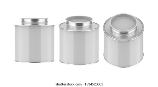 3D rendering Mock up round metal tin can. Container for tea, coffee, sugar, cereals, candy, spice, snack or Cosmetic cream, gel, wax