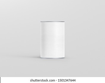 3D rendering Mock up round white tin can . Container for tea, coffee, sugar, cereals, candy, spice, snack or Cosmetic cream, gel, wax