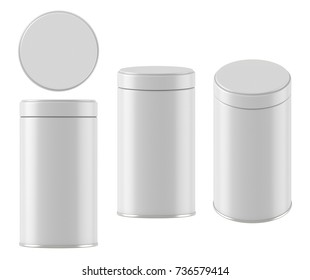 3D rendering Mock up round white tin can with lid. Container for tea, coffee, sugar, cereals, candy, spice, snack or Cosmetic cream, gel, wax