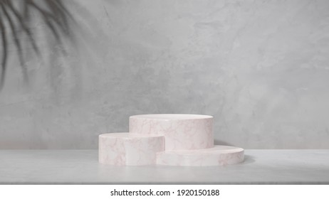 3D rendering, mock up scene with stones for place your product in grey  background, 3d illustration