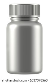 3D rendering Mock up silver plastic jar with screw cap, Packaging template on white background