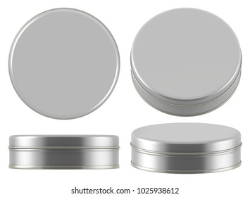 3D rendering Mock up small silver tin can . Container for tea, coffee, sugar, cereals, candy, spice, snack or Cosmetic cream, gel, wax
