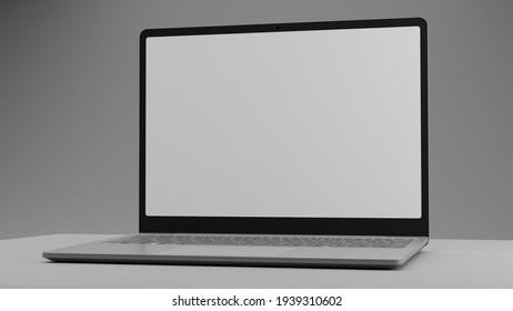 3D rendering. Mock up. Minimalist laptop scene in gray tones.