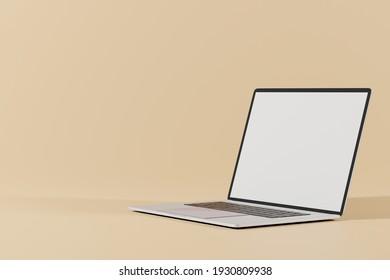 3d rendering of mockup laptop with empty screen for placing advertising on screen