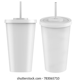 3D rendering Mock-up paper soda cup with Lid Isolated on White Background