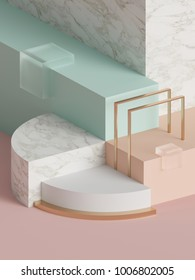 3d rendering, modern abstract geometric background, minimalistic empty showcase, art deco mock up, primitive shapes, shop display, pastel colors