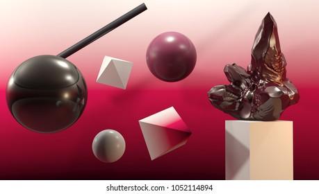 3d rendering, modern abstract geometric background. Modern background design for poster, cover, branding, banner, magazine.