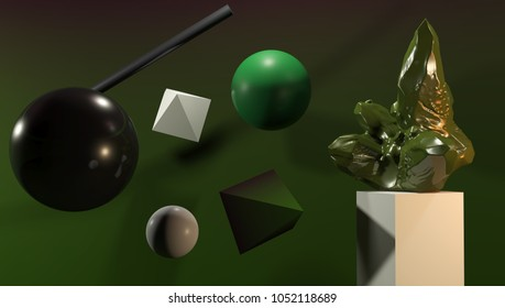 3d rendering, modern abstract geometric background. Surreal composition with crystal.