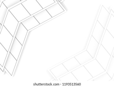 3d rendering. modern abstract trapezoid tile pattern arrow on copy space white background.