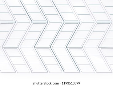 3d rendering. modern abstract white trapezoid tile pattern in arrow shape stack on the floor background.