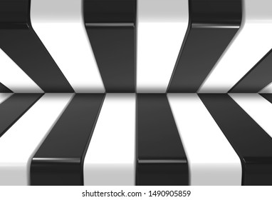 3d rendering. modern alternate black and white pattern design wall background.