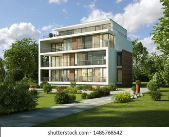 3d rendering of a modern apartment building in the evening