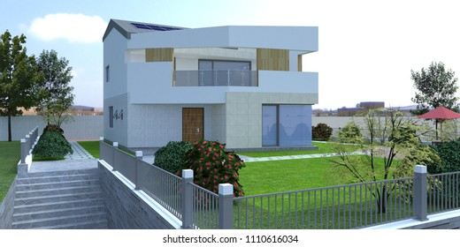 [3D rendering] modern architecture house with solar panel. Made with SketchUp.
