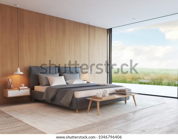 3d rendering. modern bedroom in a apartment with view.