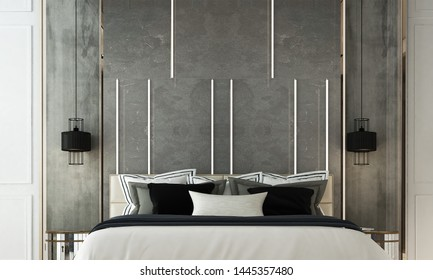 3D rendering Modern Bedroom interior design and head bed marble background