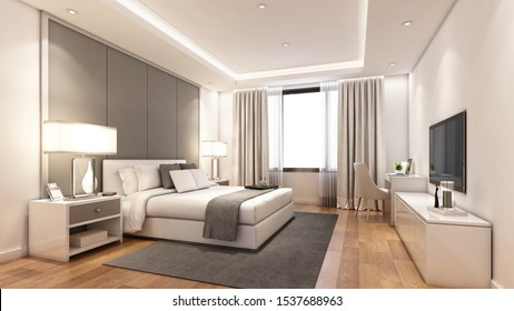 3D rendering modern bedroom suite in hotel with tv and work table