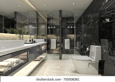 3d rendering modern black bathroom with luxury tile decor