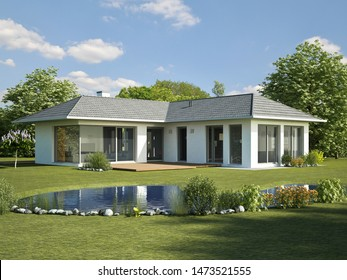 3d rendering of a modern bungalow