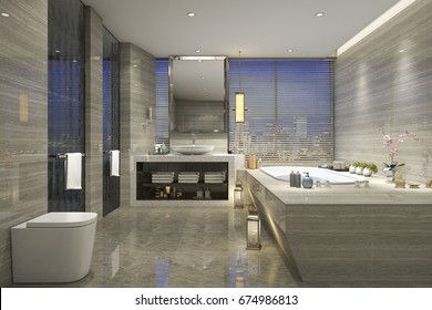 3d rendering modern classic bathroom with luxury tile decor with nice nature view from window