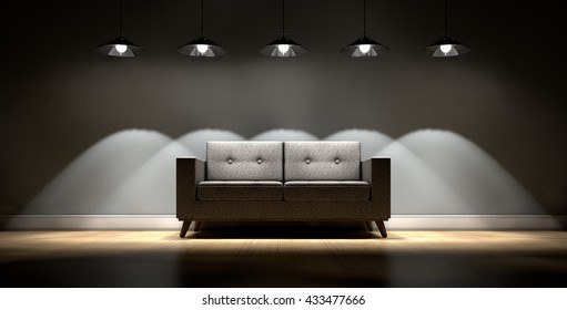 A 3D rendering of a modern couch in an empty room lit by retro light fittings